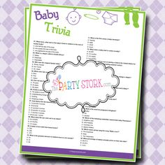 Baby Shower Trivia Game with Questions and Facts, PRINTABLE, Many more Fun Games to Choose from at The Party Stork