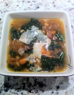 K Test Kitchen: White Bean, Spicy Italian Sausage, and Kale Soup Soup Recipes, Dinner Recipes, Cooking Recipes, Healthy Recipes, Healthy Food, Yummy Recipes, Bean And Sausage Soup, White Beans, Test Kitchen