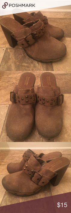 Vintage Brown Leather Stud Rocker Boho Clog Heels Gorgeous ! Vintage Mossimo when it was more high end. Tts & cozy. These have some wear / few spots but to me it just gives it the worn look which I love. Plz see pics. Lots of life ! vintage Shoes Platforms