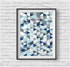 Blue Geometric Printable Art Colorful Wall Art Blue Nursery Print Triangle Poster Abstract Art Scandinavian Printable Geometric Home Decor