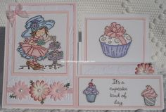 Cupcake side stepper card LOTV and various stamps
