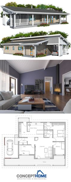 Small House Plan - Love the carport & roofline. Should be clerestory windows up there.