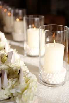 Pearls in hurricane vases, how chic! Kay English Photography
