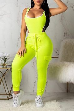 Women Pockets 2 Piece Set Solid Plus Size Sexy Two Piece Outfits Sleeveless Hollow Out Bodycon Bodysuit And Long Pants Suit Two Piece Pants Set, Two Piece Outfit, Sexy Outfits, Cute Outfits, Fashion Outfits, Green Outfits For Women, Green Two Piece, Looks Style, Two Pieces