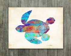 Watercolor Sea Turtle Art Print Signed by Artist Dan Morris, Beach art, Choose print size, Option to mount print, coastal art print