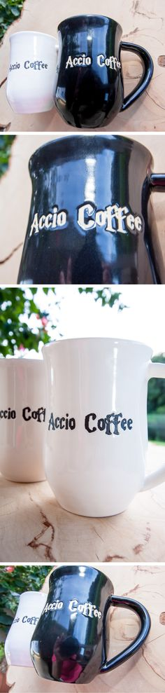 "This Harry Potter inspired handmade stoneware mug is perfect for everyday use. It says ""Accio Coffee"" on the front with a glossy black base glaze. The Accio Coffee text reveals the beautiful white stoneware.  - Holds approximately 14 ounces - White stoneware - Food safe - Microwave safe - Dishwasher safe"