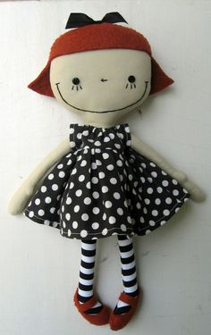 """.such a happy smile....i love this doll! her polka-dot dress and striped """"stockings"""" are a perfect match for her cuteness!...:"""