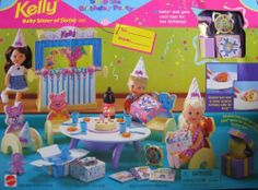 Barbie, KELLY Surprise Birthday Party Playset (1998 Arcotoys, Mattel) by Arcotoys, Mattel. $79.99. KELLY Surprise Birthday Party Playset is a 1998 Arcotoys, Mattel production. Model #67346. CONTENTS: Party Table, Animal Chairs, Puppet Theater, Pop-Up Gift Box w/Bear, Rocking Horse, See'N Say, Doll, Gift Boxes, Birthday Cards, Birthday Hats, Soda Bottle, Paper Plates, Forks, Glasses, Candles, Cookies. Cookies turn over to show surprise Birthday Cake for Kelly! Adorable Bear pops...