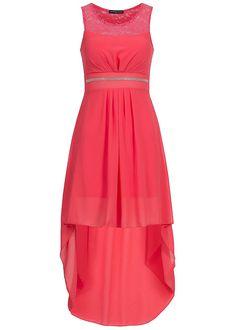 Styleboom Fashion Vokuhila Chiffon Kleid Spitze Bindeband Brustpads teils transp coral - 77onlineshop