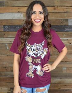 How stinking cute is this new TXST Bobcat t-shirt? Keep showing your school spirit! Go Texas State Bobcats!