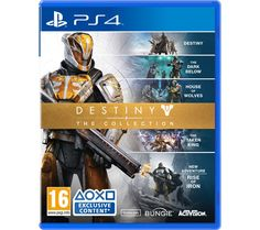 PLAYSTATION 4  Destiny: The Collection Price: £ 44.99 Top features: - Explore every game in the Destiny franchise - The Dark Below - Enjoy new weapons and gear - House of Wolves - Explore new multi-player maps - The Taken King - Save civilisation from the Taken King - Rise of Iron - All new campaign and story Explore every game Including every release from the award-winning Destiny franchise,...