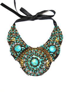 Tirkiz Ani Jewelry Design by ~AniDandelion on deviantART Bead Embroidery Jewelry, Beaded Embroidery, Beaded Jewelry, Beaded Necklace, Handmade Accessories, Jewelry Accessories, Handmade Jewelry, Jewelry Design, Maxi Collar