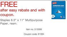 Free Ream Of Multipurpose Paper X 11 At Staples