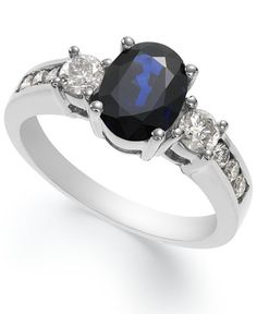 14k White Gold Ring, Sapphire (1-1/2 ct. t.w.) and Diamond (1/2 ct. t.w.) Oval Ring