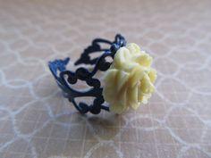Blue and Cream Flower Ring by PeacockJones on Etsy, $5.00