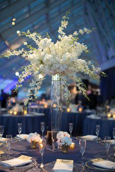 Hanging white flower centerpieces / Indian Wedding / Summer Wedding / Adler Planetarium / Wrap It Up Parties / Chicago