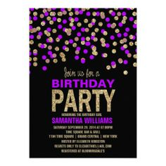 Black, Purple & Gold Glitter Effect Birthday Party