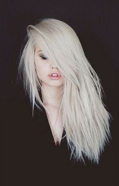 long bangs • white • hair • side part • frosted • dyed • hairdo • hair • style • teen • fashion