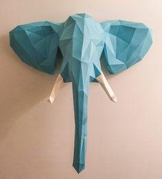 Trophée de chasse Eléphant en papier cartonné - 63 cm
