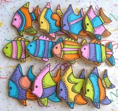Tropical Fish Decorated Cookie Favors  Fish Cookies  by lorisplace