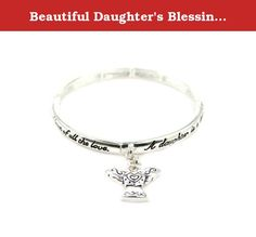 Beautiful Daughter's Blessing with Angel Charm Silver Tone Stretch Bracelet. Mom, Daughter, Sister, Best Friend, Grandma, Inspirational, Girl, Woman, Pandora Style, Morano Beads, Magentic, Stretch, Lobster Clasp, Bangle, Cuff, Bangle, Cute, Girl, Breast Cancer, Animal, Garden, Sea Life, Christian, Family Theme, Pink is the color of Strength, The ribbon is a symbol of Hope, Together it is a sign of Victory. School Teacher, Animal, Garden, Salt Life, Dolphin, Whale, Sand Dollar, Anchor...