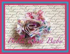 Shabby print Flower Vintage Rosette print floral burgundy-light blue to make headbands- barefoot sandals for baby- DIY no clip attached on Etsy, $0.35