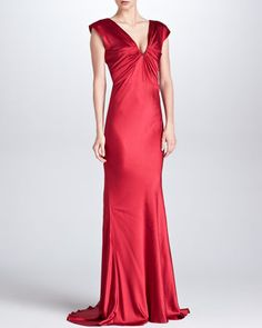 $1,501, Red Satin Evening Dress: Oscar de la Renta Ruched Satin V Neck Gown Ruby. Sold by Neiman Marcus.