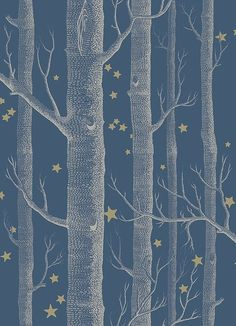 Woods & Stars Wallpaper A Cole's classic wallpaper with a twist, cream trees with gold stars on a dark teal background tapetti Stars Wallpaper, Kids Wallpaper, Wallpaper Roll, Wallpaper Patterns, Birch Tree Wallpaper, Blue Wallpaper Bedroom, Childrens Bedroom Wallpaper, Blue And Gold Wallpaper, Charcoal Wallpaper