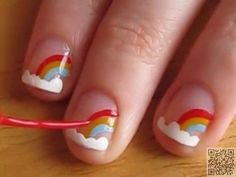 3. Tiny #Rainbows - Got Short #Nails? Here Are the Nail Art Designs You'll Love ... → #Nails #Ideas