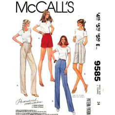 McCalls+9585+Womens+Slim+Pants+or+Shorts+Pattern+High+Waist+Trousers+Size+14+UNCUT