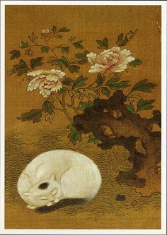 "postcard - Ch'ing dynasty art    ""Cat, Rock and Peonies"", album leaf: color on silk, 18th century (Freer Gallery of Art)."