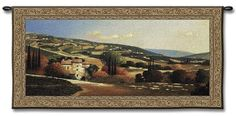 TUSCAN VILLA LANDSCAPE HILLS COUNTRY ART TAPESTRY WALL HANGING 53x27