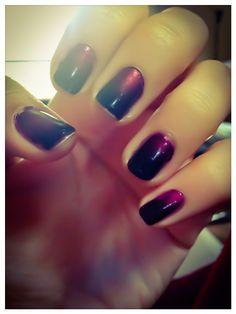Nail design, nail art, ombré nails, purple and black Opi