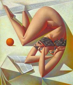 Woman reading book with orange. Georgy Kurasov (Russian, b.1958). figurative with surreal cubist influence, dynamic narrative and iconic.