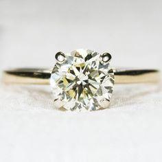 1.15ctw Yellow Solitaire Diamond Ring 14k Gold Engagement Wedding