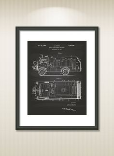 Fire Fighting Truck 1944 Patent Art Illustration