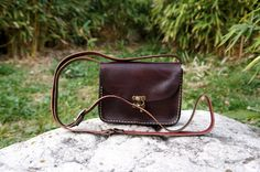 Dark brown Leather messenger bag small by GalenLeather on Etsy, $33.00
