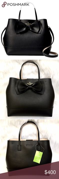 """‼️ LAST ONE‼️Bow KATE SPADE Vanderbilt Giorgia CONDITION: NWT = NEW With Tags  ‼️LAST ONE LEFT‼️  DESCRIPTION: AUTHENTIC  ♠️Cute Giorgia bow crossbody bag from Vanderbilt Place collection.  ‼️SOLD OUT‼️ everywhere!  MEASUREMENTS:      * 13"""" WIDTH     * 10"""" HEIGHT    * 6"""" DEPTH    * 5"""" TOP HANDLE DROP    * 24"""" STRAP DROP (Detachable)  TAGS: bows cross body tote shoulder purse Vanderbuilt Georgia kaye black leather michael kors coach tory  PHOTO CREDIT: www.KateSpade.com  PHOTO #4 for size…"""