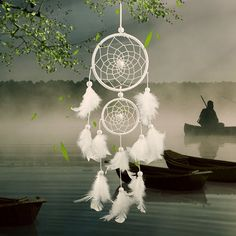 Chic Double Circular Net With Feathers Dreamcatcher Wall Hanging Decor - WHITE