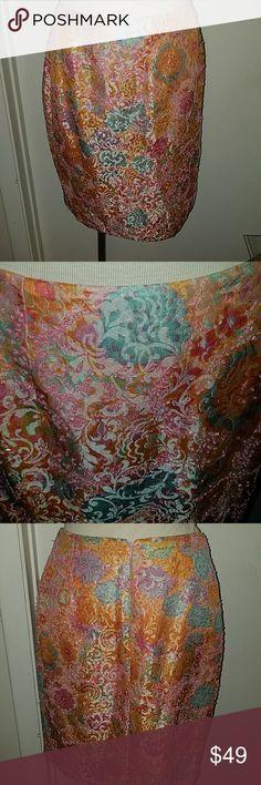 Carmen marc valvo skirt nwot Floral skirt scattered beading fully lined nwot Carmen Marc Valvo Skirts