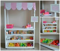 Pretend play supermarket shop. Market stall, kids play.