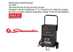 Schumacher Wheel-Style-Starter-Charger for only $469.30 ea. This special is valid until Feb 29, 2016. SF-3000 200 amp | 80 amp | 60 amp | 44 amp | 30 amp Charges a variety of batteries: 6, 12, 18 and 24 volts. With this charger, the user no longer needs to separately charge 18 and 24-volt batteries. https://aadiscountauto.ca/special/197/wheel-style-starter-charger.html #schumacher #wheelstylestartercharger #schumachercharger #chargerdeals #aadiscountauto #hamilton #autoparts
