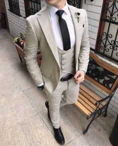Gentle High Quality Mens Suits Groom Tuxedos Groomsmen Wedding Party Dinner Best Man Suits K:2725 jacket+pants+tie