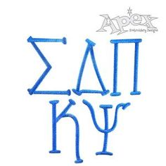 "Greek Party Embroidery Font Size: 1"", 2"" 3"" and 4"""