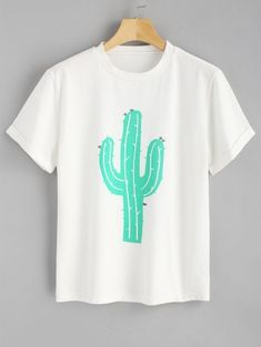 Rolled Up Sleeve Cactus T Shirt