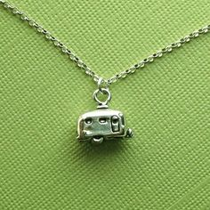 Vintage Retro Style retro airstream style trailer necklace from etsy [I must have this] - Little Trailer, Little Campers, Retro Campers, Happy Campers, Vintage Campers, Vintage Rv, Vintage Caravans, Vintage Travel Trailers, Vintage Ideas