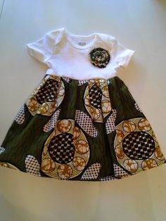 Africa print Green and brown Ankara baby girl onesies dress READY TO SHIP