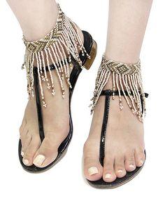 Another great find on #zulily! White & Beige Fringe Anklet Set #zulilyfinds
