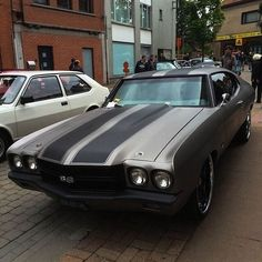 #BecauseSS 1970 Chevrolet Chevelle matte grey black ss . stripes on the roof