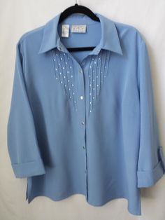 Womens Blouse XL Kathy Che Blue Polyester Spandex 3/4 Sleeve Snap Bling Front #KathyChe #Blouse #CasualCareer